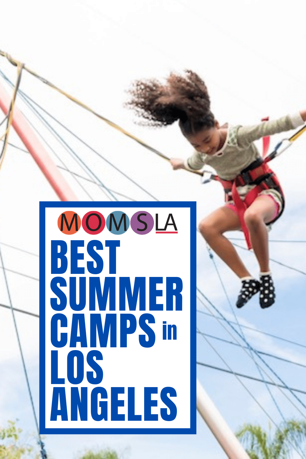 girl bungee bouncing text momsla best summer camps in Los Angeles
