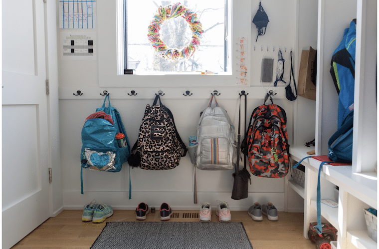 backpacks on hooks at home for SchoolHouse