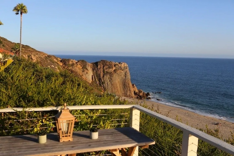 view of pt dume bluffs from designer bungalow vrbo