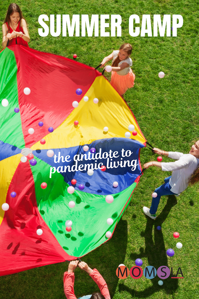 kids playing with parachute text summer camp antidote to pandemic living