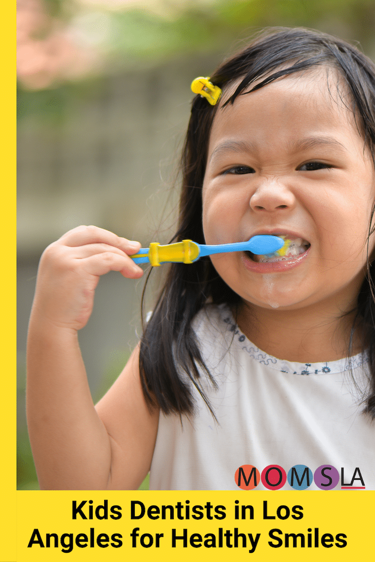 young girl brushing her teeth text kids dentists in Los Angeles for healthy smiles