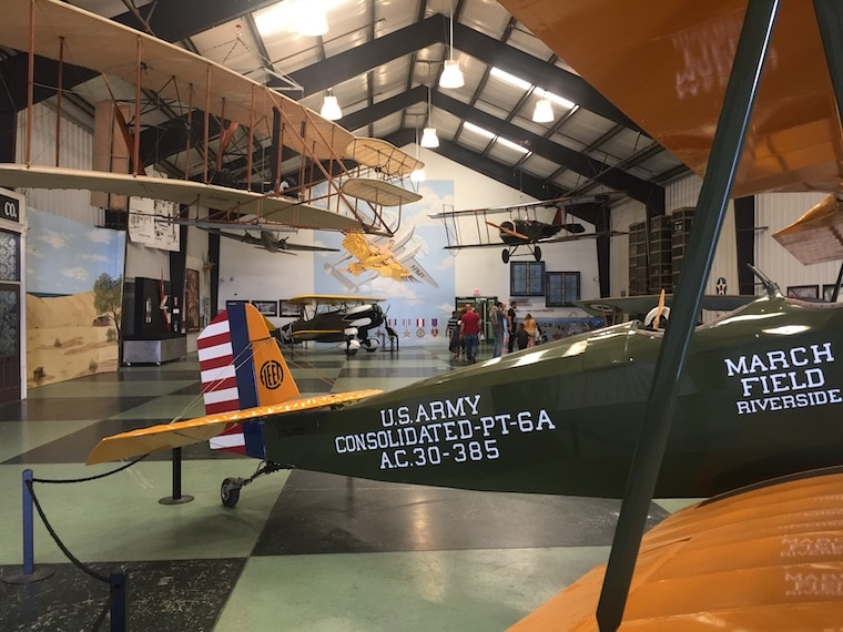 March Field Air Museum, showing airplanes inside the hangar