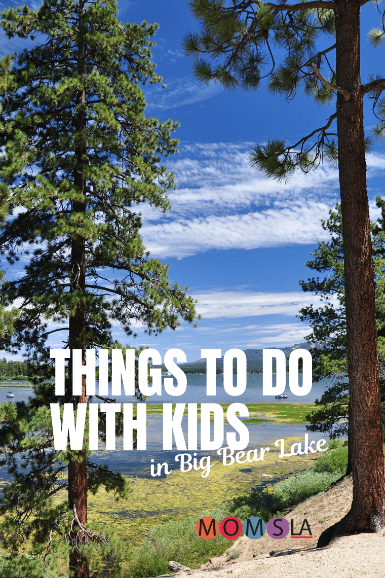 tall pine trees near a lake text Things to do with kids in Big Bear Lake