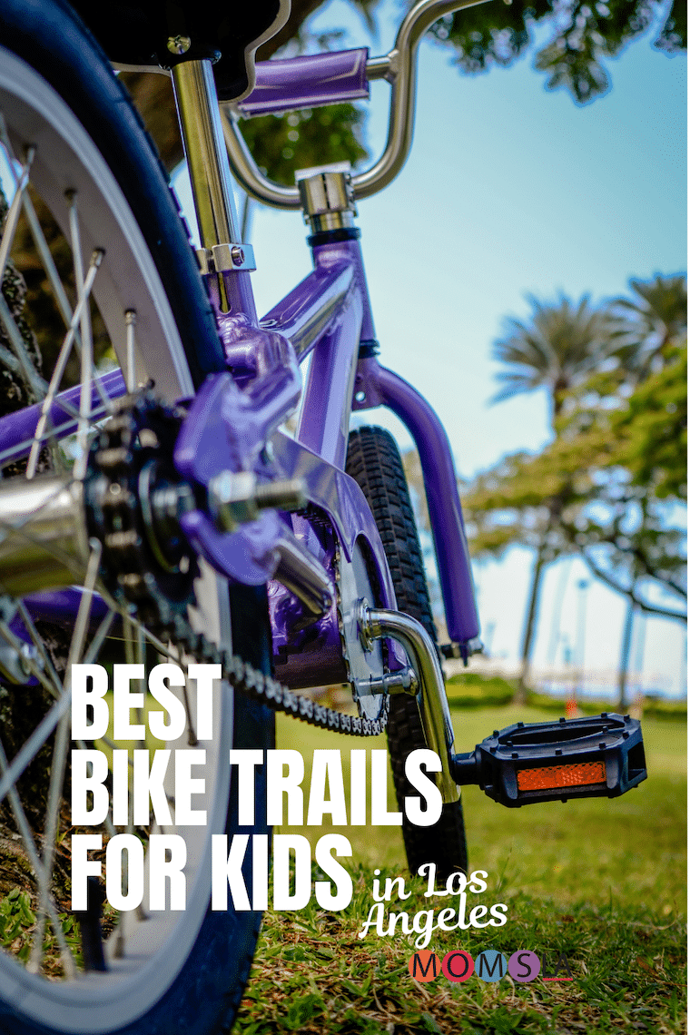 close up purple bicycle text best bike trails for kids in Los Angeles