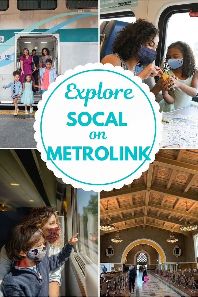 photo collage of families on the train text reads Explore Socal on Metrolink
