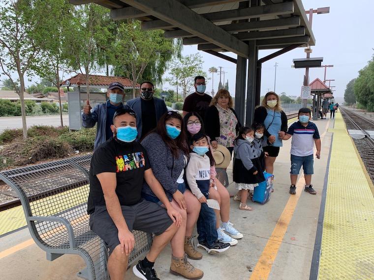 multi-generational family heading into Downtown LA on the Saturday Train