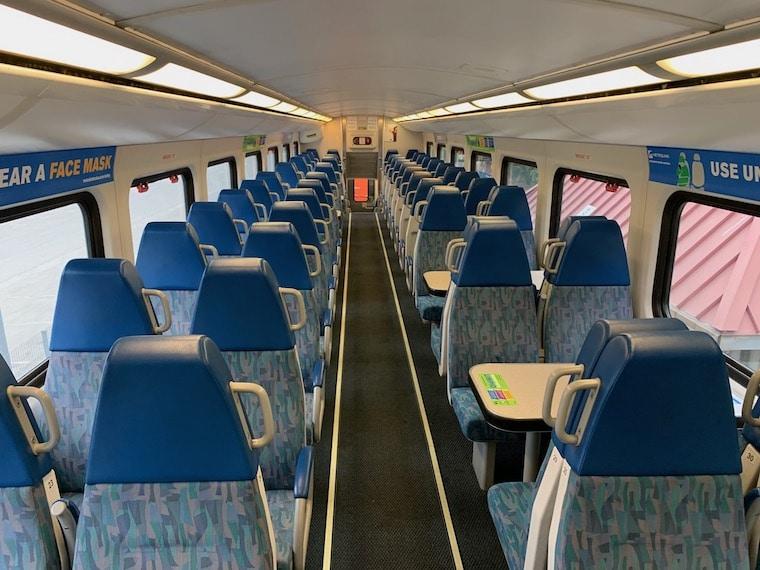 clean interior of the Metrolink train Ventura line