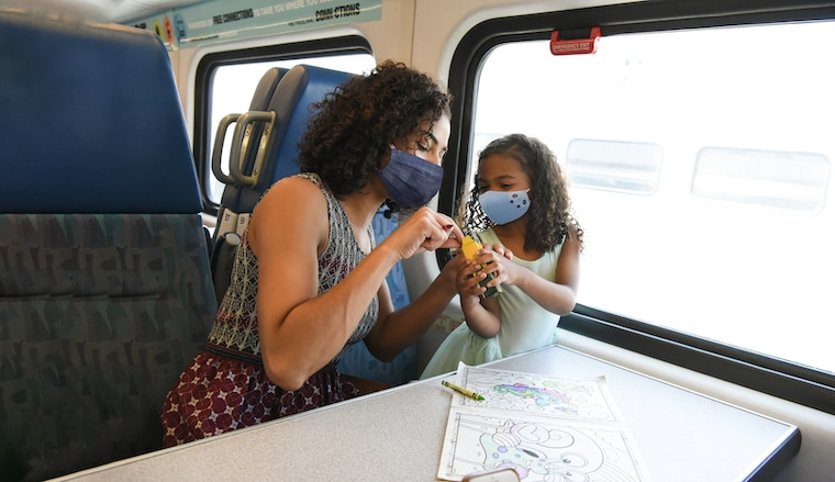 Mother and Daughter riding the train and enjoying an activity together