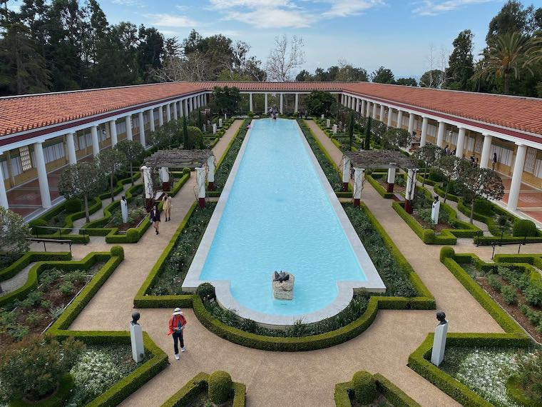 The Getty Villa reflecting pool from above (photo by Paul Kennar)