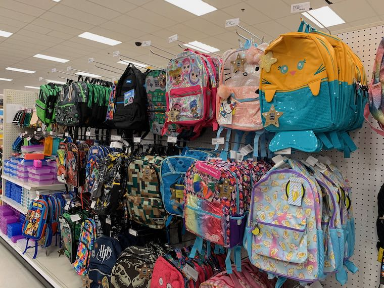 backpacks at the store