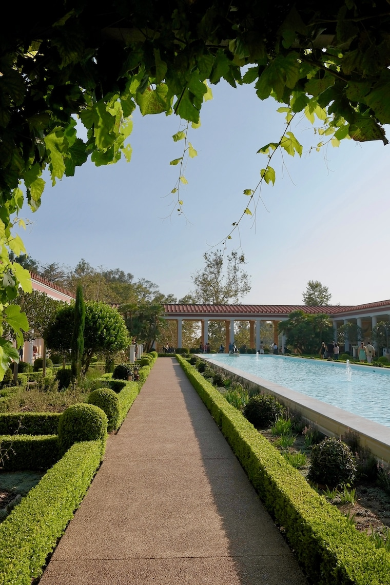 The Getty Villa reflecting pool on a sunny day