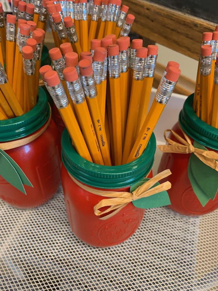 pencils in painted jars