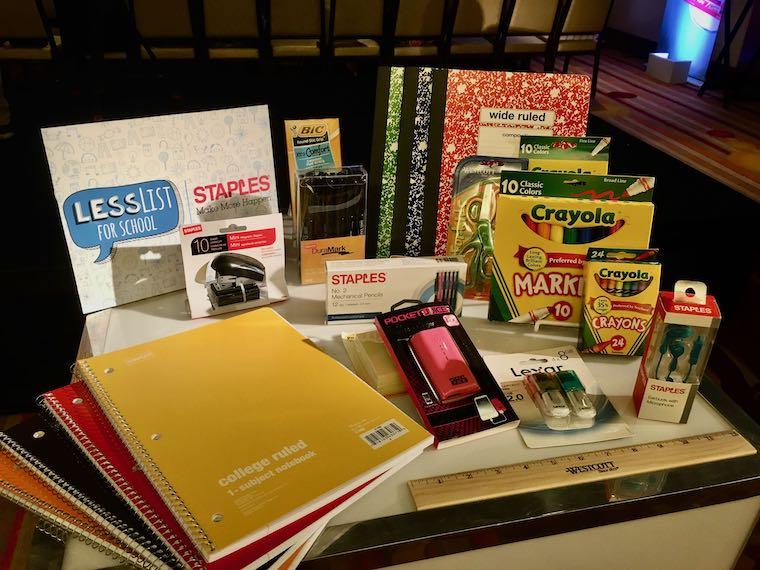 display of school supplies