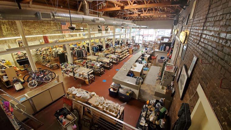 Bird's eye view of the Beacon House thrift Shop in San Pedro