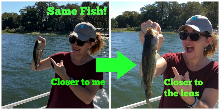 woman holding the same fish in 2 ways to make it appear larger